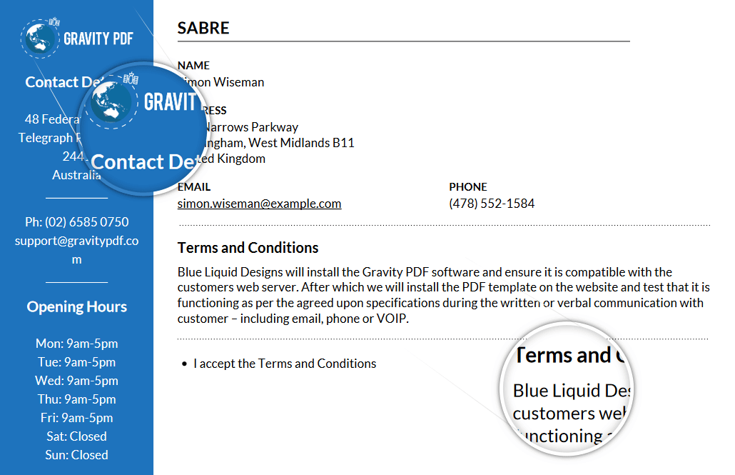 Sabre works great with business letters, invoices, etc