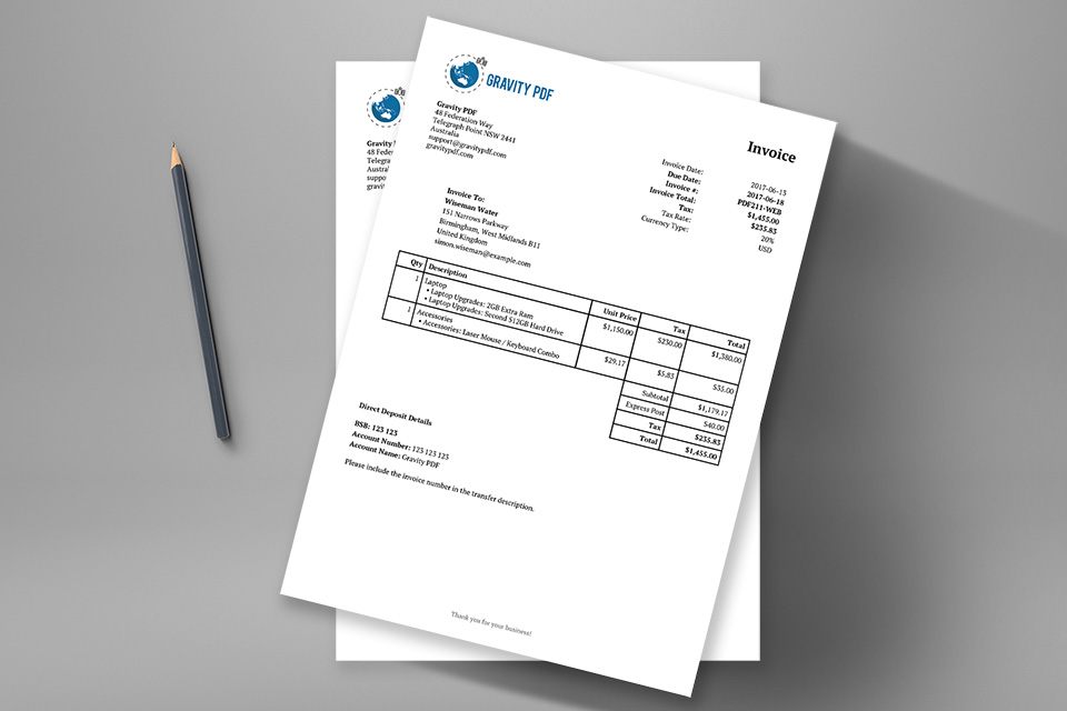 Receipt Document Invoice Classic  A Gravity Forms Invoice  Gravity Pdf Chinese Receipt Excel with Car Sales Receipt Template Uk Excel This Is Your Classicformat Invoice On Steroids Upload Your Business Logo  Include Your Company Details Use Merge Tags To Include The Recipient Info  And  Gift In Kind Receipt Excel