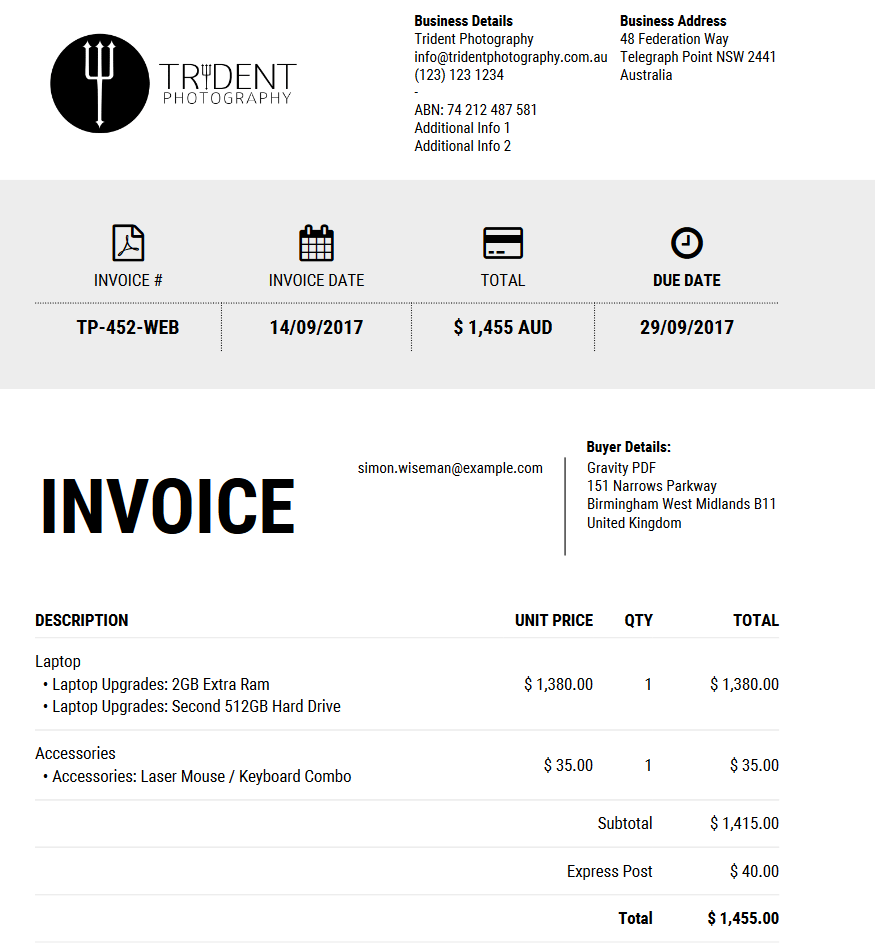 New invoice Iconic available in template shop – Standard Invoice Form