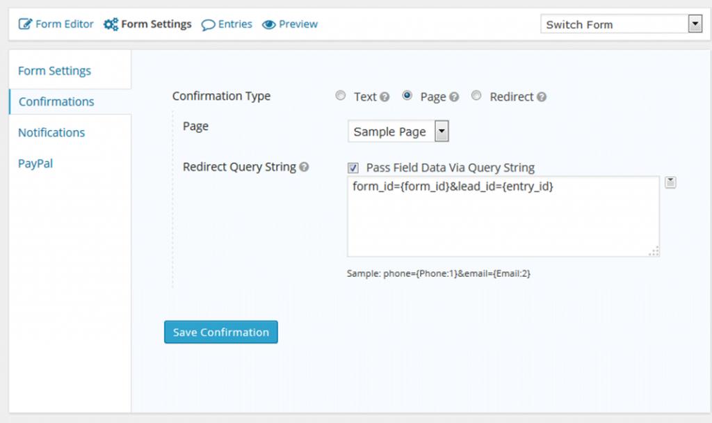 Set you form's configuration settings like so.